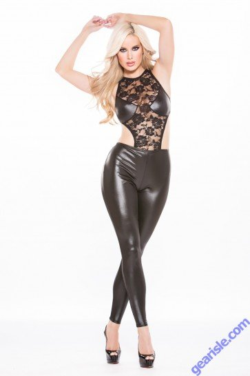 Lace Wet Look Catsuit Kitten-Boxed 10-9602K