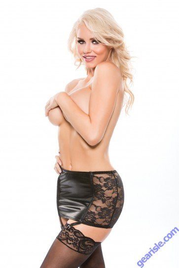 Wetlook Slashed Skirt Kitten-Boxed 13-7602K