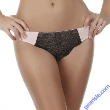Jezebel Felina Amanda Pink Black Flirt Thong 50004