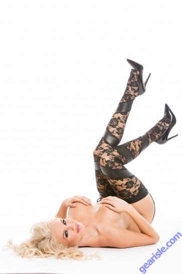 Lace Wet Look Tights G-String Kitten-Boxed 7-5602K