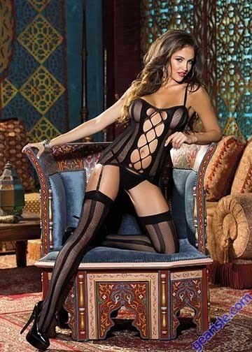 Shirley of Hollywood 90320 3 Piece Stripe Fishnet Set Black One Size Fits All