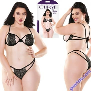 Belle Stretch Lace Bra And Cutout Panty Set
