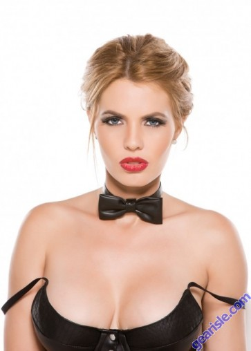 Faux Leather Bow Tie Collar C-4005