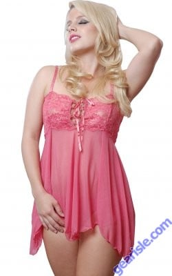 Black And Pink Lace Up Front Babydoll Vx Intimate Lingerie 5174