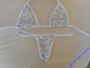 Sexy Sheer Sequin Thong Triangle Xposed Skinz Bikinis