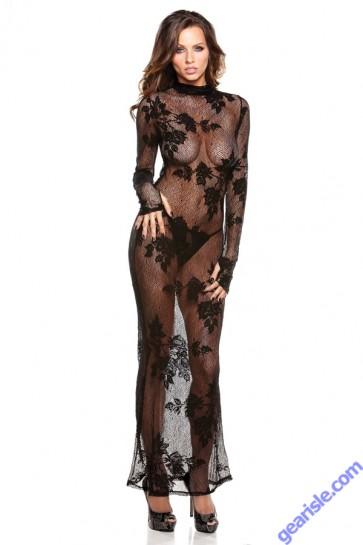 Floral Lace Gown G-String Lingerie Tease B150