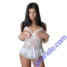 Vx Intimates Lingerie Stretch Lace Open Cup Bustier  with G-String by Vx Intimates