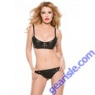 Faux Leather Snap Front Bra Thong Set 12-2005