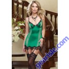 Green Patchwork Mesh Lace Trimed Babydoll 5202 Lingerie