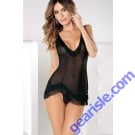V-Neck See-Through Tassel Mini Dress Babydoll Lingerie 5535