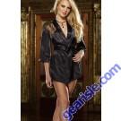 Women Sexy Satin Silk Lace Robe Lingerie Nightwear 5568 Black