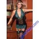Women Sexy Sheer Lace Plus Size Blue Lingerie Sleepwear Chemise 5700