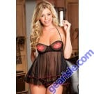 Lips Print Flyaway Transparent Hot Women Nightdress Sleepwear Babydoll 5856