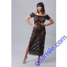 Vx Intimates 6057 Romantic Stretch Lace Long Dress With Sleeves Lingerie