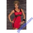 Women Club Sexy Red Cut-out Mesh Form Fitting Stretch Mini Bodycon 6444 Dress