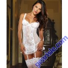 Dreamgirl 8717 Women's Blushing Bride Scalloped Stretch Lace Garter Slip and Thong