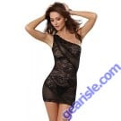 Dreamgirl 9680 Women's Sultry Stretch Lace Asymmetrical Chemise and Matching Thong