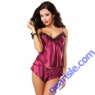 Dreamgirl 9697 Satin and Lace Camisole And Shorts Set DG