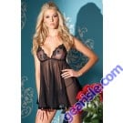 BW 1337 Sheer Mesh Babydoll With Lace Cups And Thong Women Sexy Lingerie