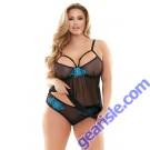 Sydney Cutout Babydoll Panty Set Applique Details Curve P213