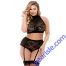 Katia Two Piece Halter Bra Top Matching Gartered Panty Curve P216