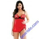Cherry Bomb Split Cup Babydoll Open Panel Panty Set Risque Q165