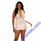 Shirley Hollywood 96164 - Stretch Mesh and Lace Babydoll with Bow