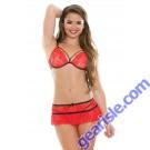 Tatiana Stretch Lace Caged Bra Skirt Set Tease B479