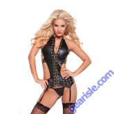 Faux Leather Eyelet Corset 11-0255