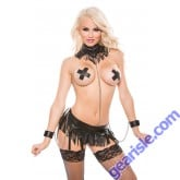 Faux Leather Collar  Garter  Cuffs G-String Set Naughty 12-5005
