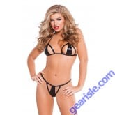 Wet Look Bra G-String Set Kitten-Boxed 12-7032K