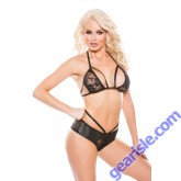 Lace Wet Look Top Shorts Set Kitten-Boxed 12-7602K