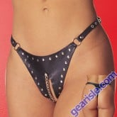Leather Peek-a-Boo Thong 3-401