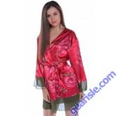 Floral Print Charmeuse Short Robe With Chiffon Hem