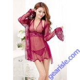 Sheer Delight 3 Pieces Babydoll And Bell-Cuffed Robe Set