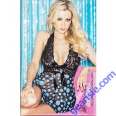 Lingerie 96377 - Large Polka Dot Net Baby Doll With Stretch Lace Halter Top