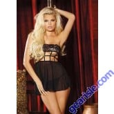 Lingerie 96517 Strappy Stretch Lace and Mesh Strapless BABY DOLL