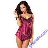 Dreamgirl Satin and Lace Camisole Shorts Set Lingerie DG9697