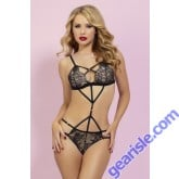 Black Eyelash Lace Teddy Strappy 10796P Seven' til Midnight