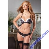 2 Piece White Bra Black Lace Lingerie Set BeWicked 1380 Style