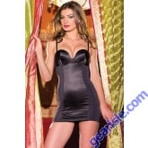 One Piece Black Peek A Boo Keyhole Chemise With Adjustable Straps & Fanny Shaper