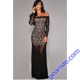 Party Dress Long Sleeve Lace Gown Nude Illusion Off Shoulder
