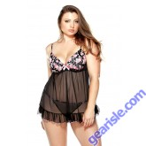 Pushup Floral Print Babydoll Matching G-string Curve P119
