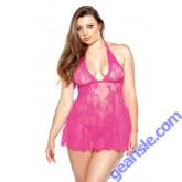 Floral Stretch Lace Chemise Matching G-String Curve P120