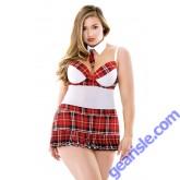 Teacher's Pet Schoolgirl Set Tie Choker Apron Dress Panty Curve P178
