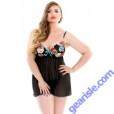 Dahlia Molded Cup Babydoll G-string Curve Lingerie P207