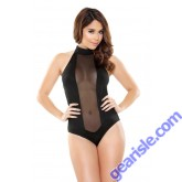 Halter Romper Sheer Center Mesh Panel Snap Closure Romp R507