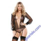 Long Sleeve Sheer Teddy Detachable Garters Snap Closure Romp R512