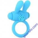Neon Rabbit Ring Vibrating Blue Silicone Pipedream