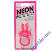 Neon Rabbit Ring Vibrating Pink Silicone Pipedream